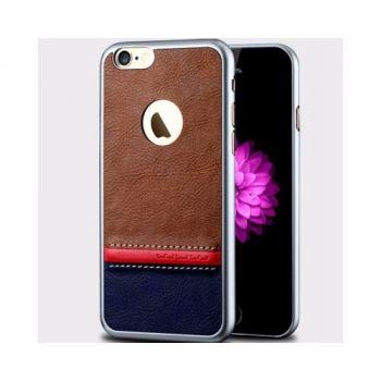 Комбинированный кожаный чехол накладка Velvet для iPhone 6 PLus