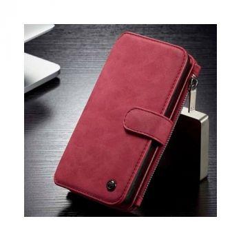 Красный кожаный чехол бумажник для Samsung Galaxy S9 Plus бизнес