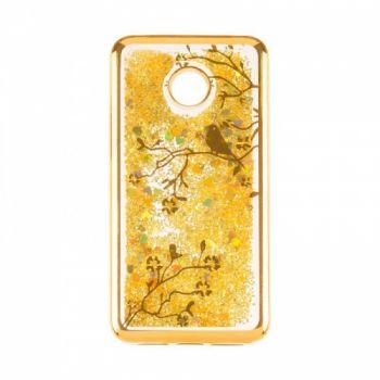 Чехол 3D с жидкостью и блестками Beckberg Aqua для Huawei Nova 2s Bird золото