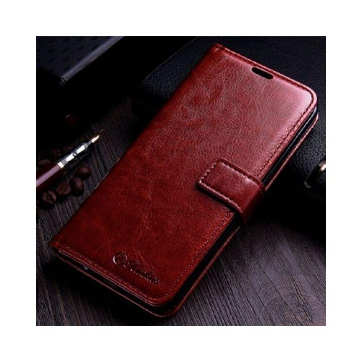 Кожаный чехол книжка коричневого цвета Luxury Retro для Samsung Galaxy S8