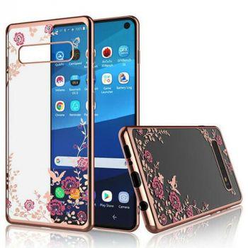 Цветочный чехол бампер Floris для Samsung Galaxy S10 розовый