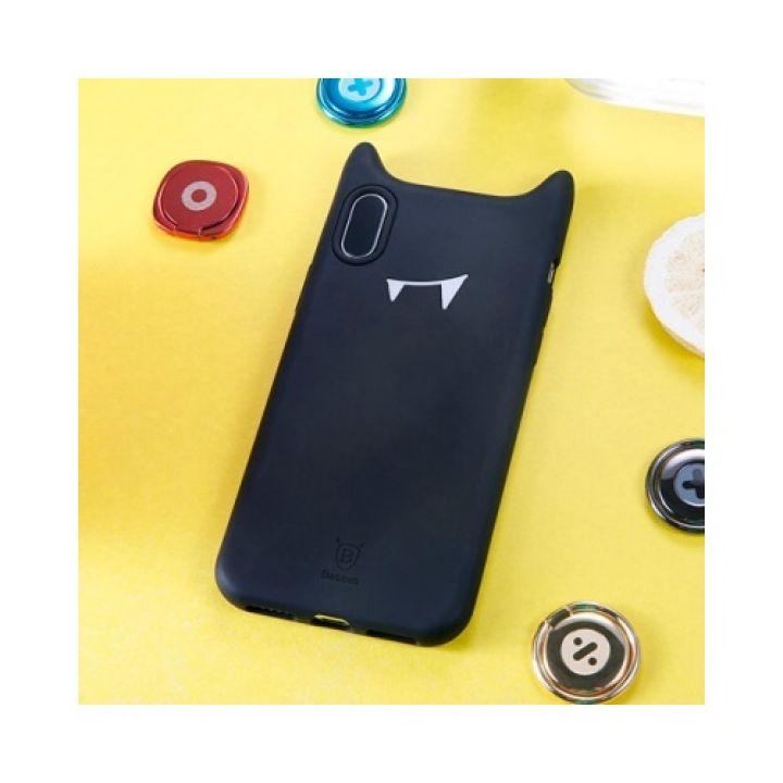 Молодежный чехол накладка с ушками для iPhone X черный Devil Baby Face