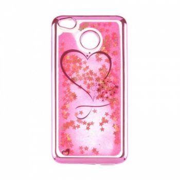 Чехол 3D с жидкостью и блестками Beckberg Aqua для Xiaomi Redmi 5 Plus Hearts Pink