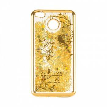 Чехол 3D с жидкостью и блестками Beckberg Aqua для Xiaomi Mi5c Bird Gold