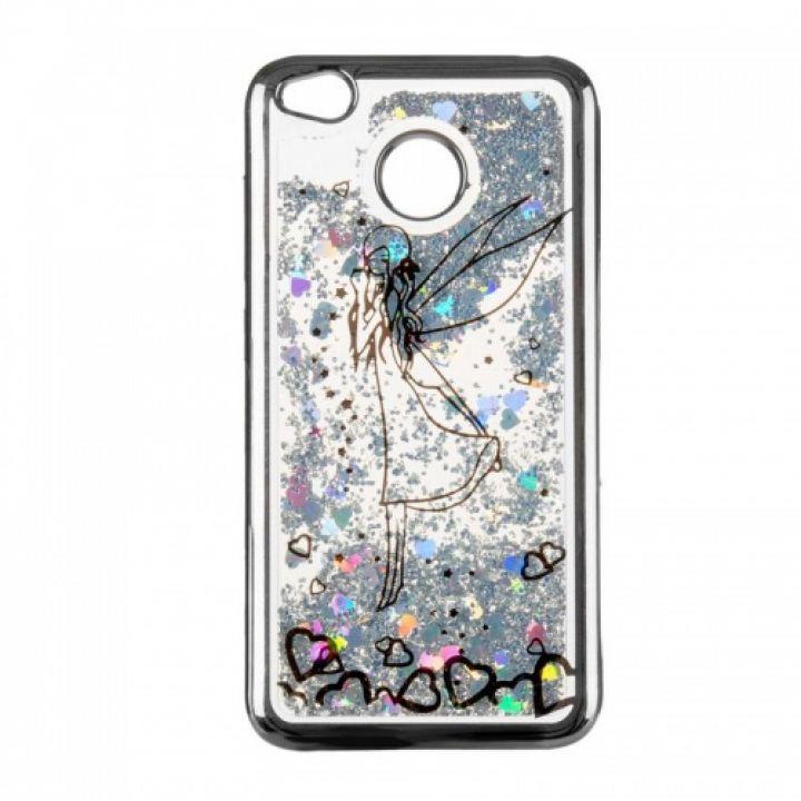 Чехол 3D с жидкостью и блестками Beckberg Aqua для Xiaomi Redmi Note 4x Fairy Black