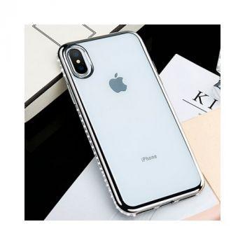 Серебристый чехол бампер Diamonds для iPhone Xs
