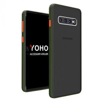 Противоударный матовый чехол Yoho для Samsung Galaxy S10 green