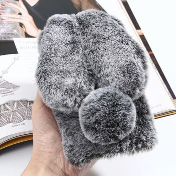 Серый меховой чехол бампер Bunny для iPhone X теплый