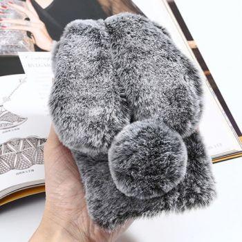 Серый чехол бампер Bunny из  меха для iPhone Xs