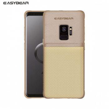 Кожаный жесткий защитный чехол для Samsung Galaxy S9 Plus золото