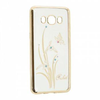 Прозрачный чехол с рисунком и камешками для Samsung J700 (J7) Orchid