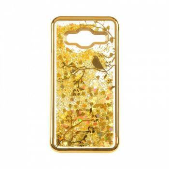 Чехол 3D с жидкостью и блестками Beckberg Aqua для Samsung J700 (J7) Bird золотой