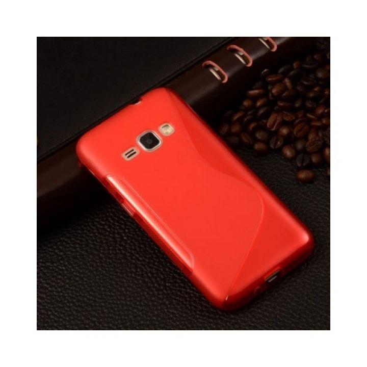 Прорезиненный чехол бампер Lineage для Samsung Galaxy J1 red