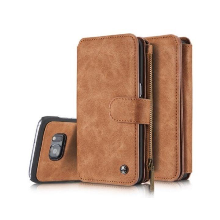 Кожаный чехол бумажник Luxury Business для Samsung Galaxy S7 Edge brown