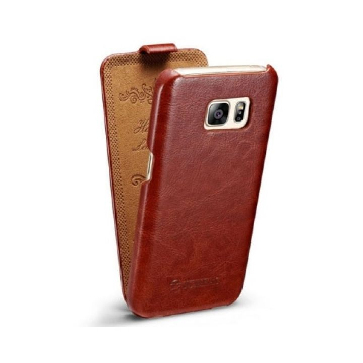 Винтажный кожаный чехол флип Luxury Retro для Samsung Galaxy S7 Edge brown