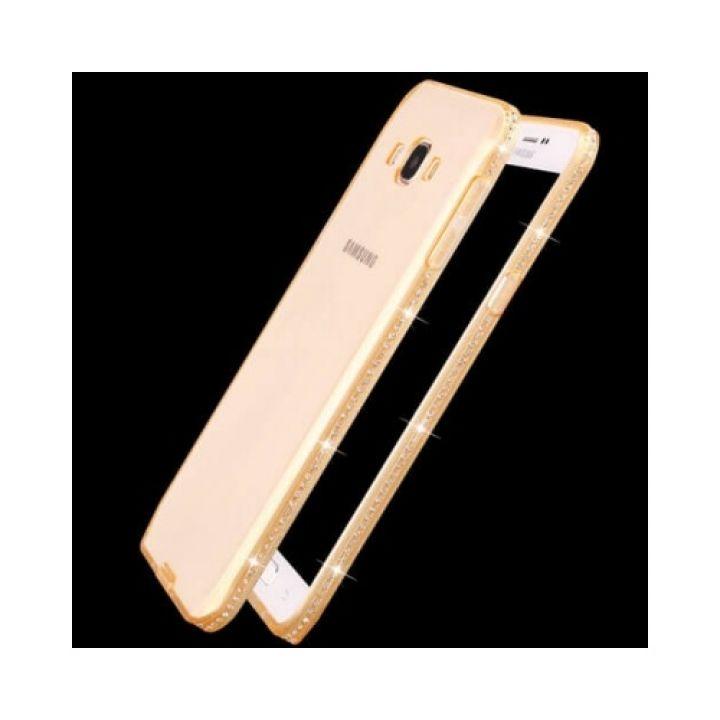 Яркий чехол накладка золотого цвета Luxury Diamond для Samsung Galaxy J5 2015