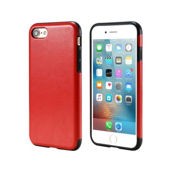 Защитный кожаный чехол бампер Retro Image для iPhone 8 red