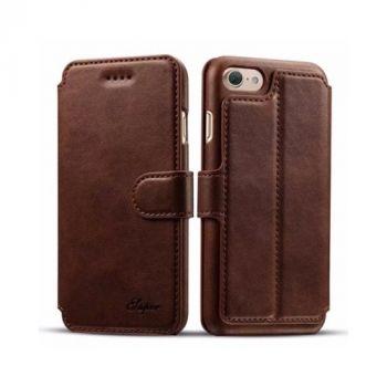 Elegant Чехол книжка из кожи для iPhone 7 Plus brown