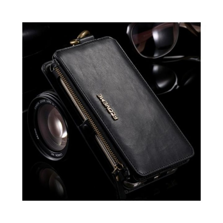 Кожаный чехол бумажник Business для iPhone 7 black