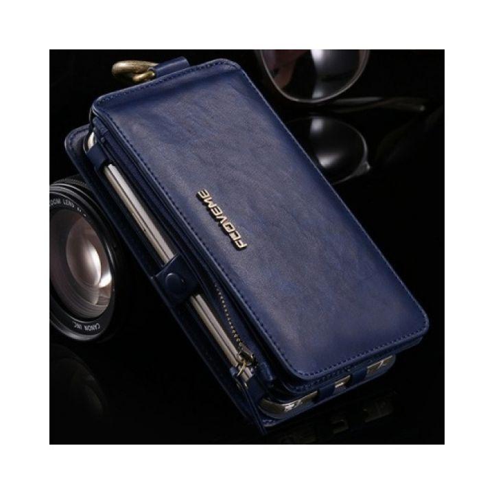 Функциональный кожаный чехол бумажник Business для iPhone 7 Plus blue
