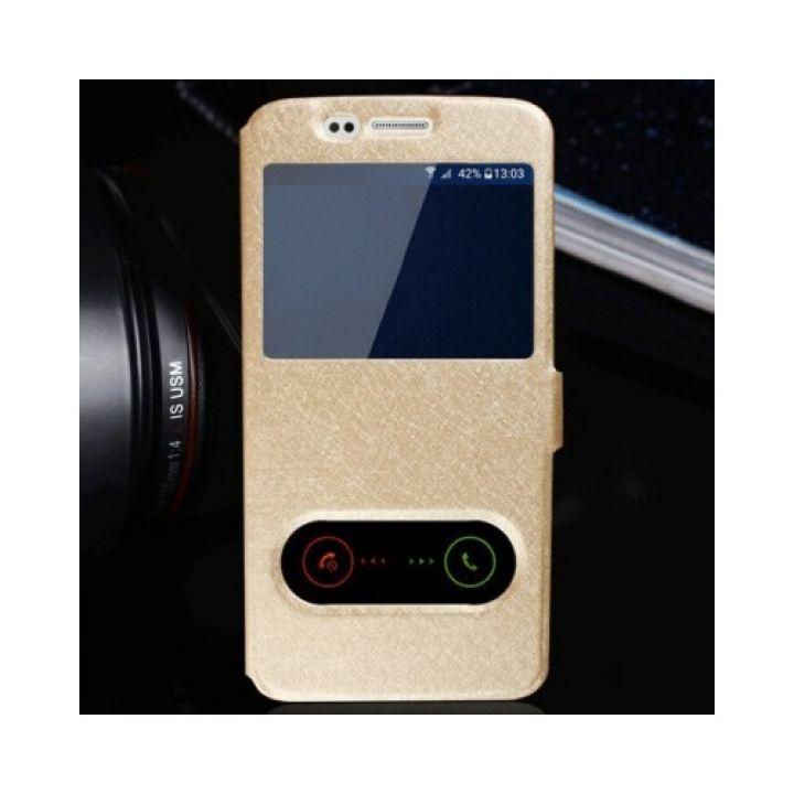 Кожаный чехол книжка Floveme для Samsung Galaxy Note 7 gold