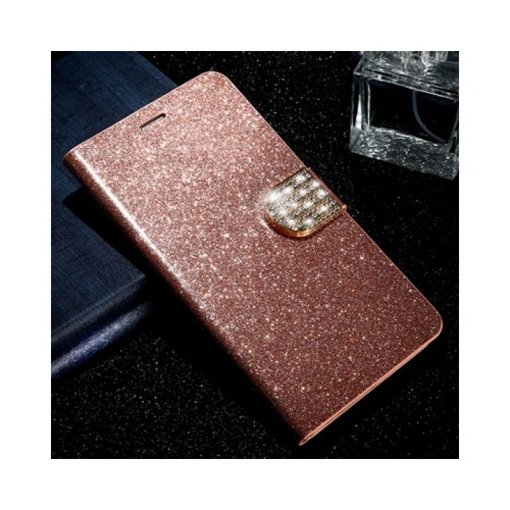 Яркий кожаный чехол книжка Diamond Leather для Samsung Galaxy Note 7 rose