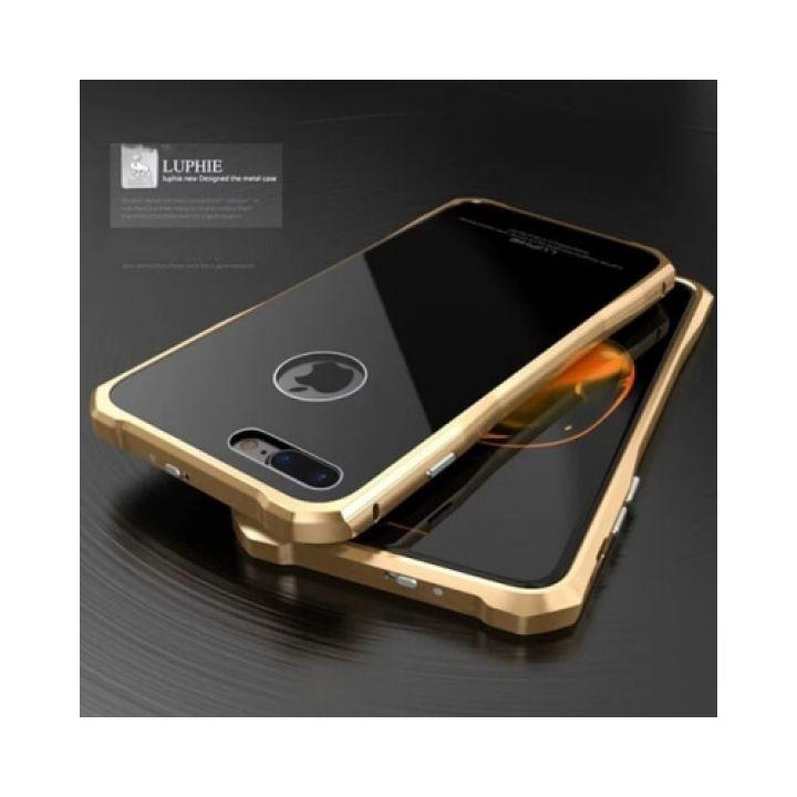 Яркий защитный чехол накладка Luxury Glass для iPhone 7 gold
