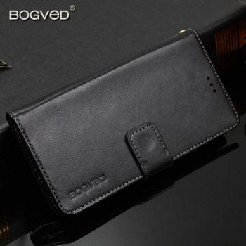 Кожаный чехол книжка черного цвета от Bogved для iPhone X со скидкой 50%