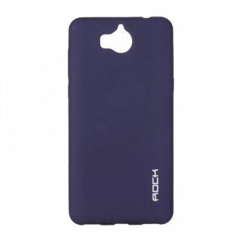 Плотный силиконовый чехол Matte от Rock для Huawei Y7 синий