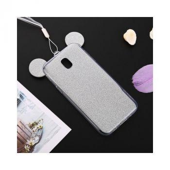 Яркий чехол бампер Ears для Samsung Galaxy J330 2017 silver