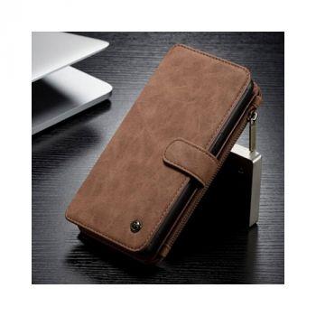 Коричневый кожаный чехол бумажник для Samsung Galaxy S9 Plus бизнес
