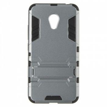 Пластиковый ударопрочный чехол накладка для Meizu M3 серый