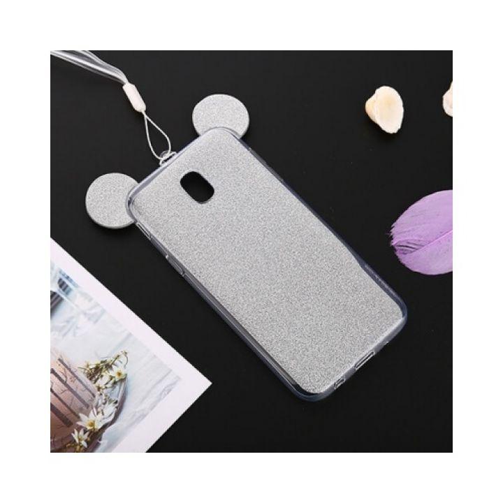 Яркий чехол бампер Ears для Samsung Galaxy J730 2017 silver