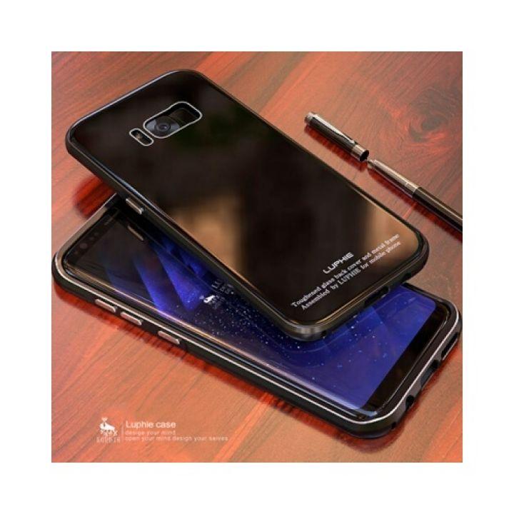 Чехол пенал черного цвета Luxury Glass для Samsung Galaxy S8 Plus