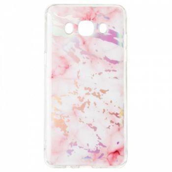 Мраморный чехол с красками для Samsung J700 (J7) розовый