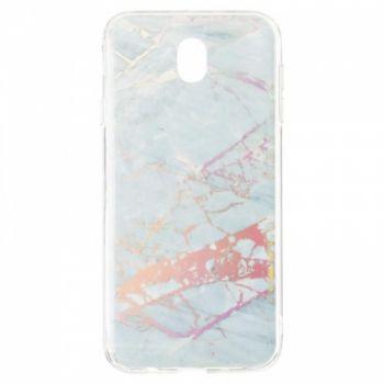Мраморный чехол с красками для Samsung J730 (J7-2017) серебро