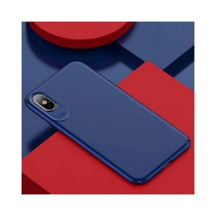 Стильный ультратонкий чехол для iPhone X Silk Touch синего цвета