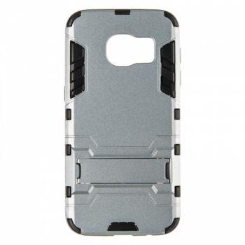 Пластиковый ударопрочный чехол накладка для Samsung S7 серый