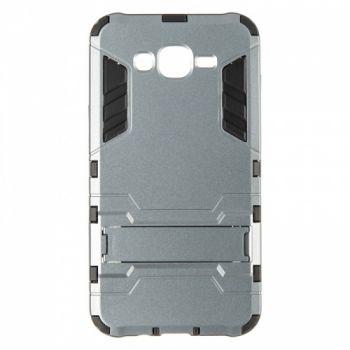 Пластиковый ударопрочный чехол накладка для Samsung J700 (J7) серый