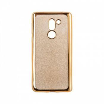 Чехол с блесками Glitter Silicon от Remax для Huawei Y7 золото