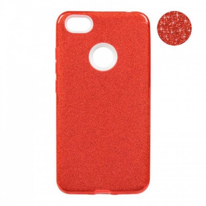 Чехол с блесками Glitter Silicon от Remax для Xiaomi Redmi Note 5a Prime красный