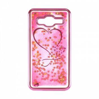 Чехол 3D с жидкостью и блестками Beckberg Aqua для Samsung J120 (J1-2016) Hearts розовый