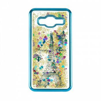 Чехол 3D с жидкостью и блестками Beckberg Aqua для Huawei P8 Lite Paris синий