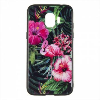 Силиконовая накладка с принтом от iPaky для Samsung S8 Plus розовый Flamingo