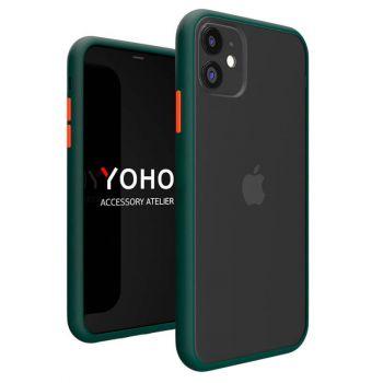 Защитный матовый чехол Yoho для iPhone 12 зеленый