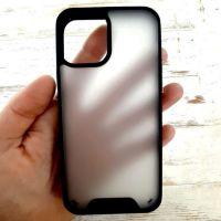 Матовый пластиковый чехол накладка Clear Space для iPhone 12 black