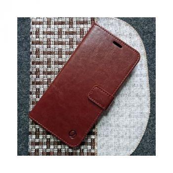 Яркий кожаный чехол книжка Kangaroo от Jitnik для Samsung Galaxy S10, коричневый