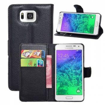 Кожаный черный чехол бумажник для Samsung Galaxy Alpha G850F