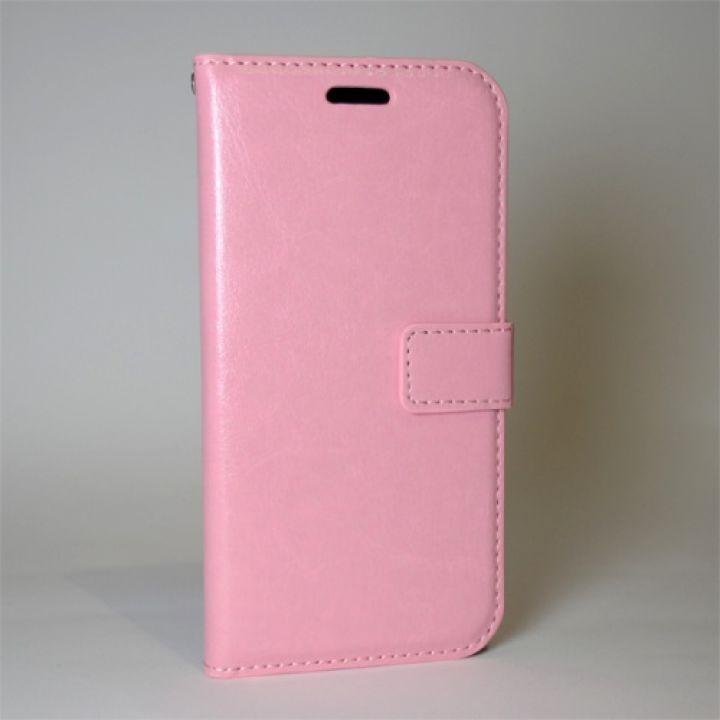 Чехол бумажник кожанный для Samsung Alpha G850F розовый