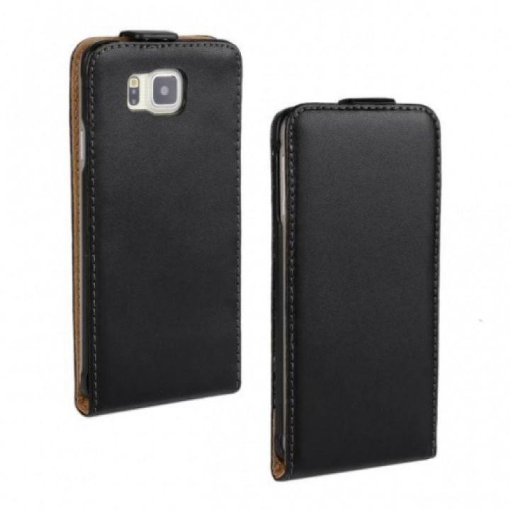 Черный чехол флип для Samsung Galaxy Alpha G850F из натуральной кожи
